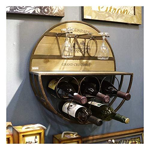 HJXSXHZ366 Estantería de Vino De Estilo Europeo multifunción Taza Redonda botellero suspensión de la Cuerda 5 Botellas de Pared de Madera de la Vendimia Estante de Vino pequeño