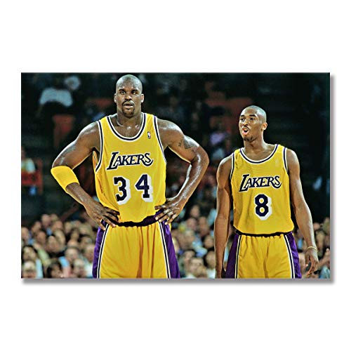 WALKKING WAYS Canvas Painting Wall Art The Los Angeles Lakers Posters and Prints Wall Pictures Kobe Bryant for Living Room Decoration Home Décor (Framed,50x70 cm) image