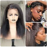Wigmy 13X4 Lace Frontal Human Hair Kinky Straight Human Hair Wig Yaki Straight Lace Front Wigs with Baby Hair Pre Plucked Glueless For Women Brazilian Virgin Hair(18 Inch)