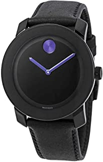 M0VADO BOLD 3600479 BLACK LEATHER STRAP BLACK PURPLE DIAL ACCENTS UNISEX WATCH