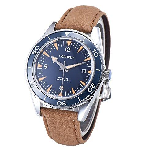Corgeut Saphirglas Herren Automatik Uhren mit Lederband Keramikblende