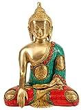 CraftVatika Statue de Bouddha Assis, Laiton Métal...