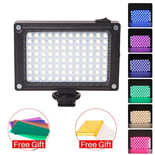 En -Camera LED Video Light 3200K-5500K Vlog Fotografía Iluminación con geles de Color para cámaras DSLR Compatible con Zhiyun Smooth 4 Ronin S/Ronin SC Stabilzers