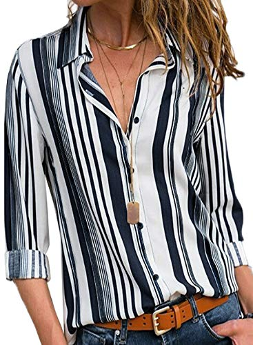 Astylish Women Casual Cuffed Long Sleeve Button up V Neck Tunic Shirts Tops Large Size 12 14 White