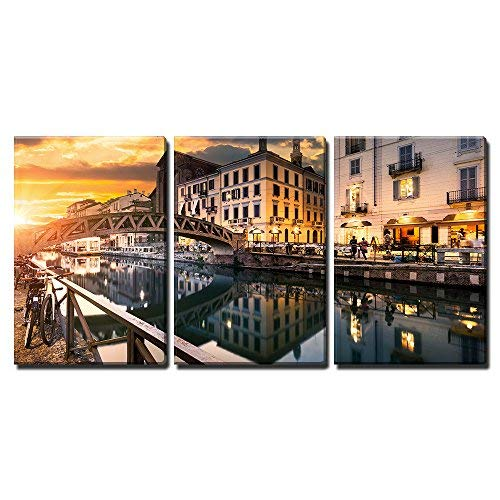 """wall26 - 3 Piece Canvas Wall Art - Bridge Across The Naviglio Grande Canal at The Evening in Milan, Italy - Modern Home Art Stretched and Framed Ready to Hang - 16""""x24""""x3 Panels"""