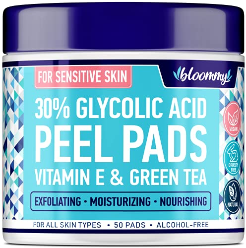 Glycolic Acid Pads - AHA Glycolic Acid Peel Pads for Sensitive Skin - Resurfacing Peel for Fine Lines & Wrinkles - Gentle Skin Exfoliating with Vitamin E & Green Tea - Vegan & Non-GMO - 50 Pads