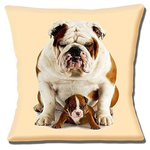 Bulldog Inglés Adulto y lindo cachorro ' Dad & Hijo ' Sobre Crema - 16' (40cm) Funda De Cojín