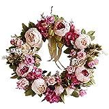 Supreme glory - Ghirlanda decorativa per porta, fatta a mano, ghirlanda di fiori, decorazione per la primavera, l'estate, Pasqua, 40 cm (A)