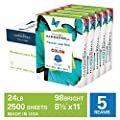 Hammermill Premium Laser Print 24lb Copy Paper, 8.5 x 11, 5 Ream Case, 2500 Sheets, Made in USA, Sustainably Sourced From American Family Tree Farms, 98 Bright, Acid Free, Laser Printer Paper, 104640C