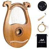 Lyre Harp 16 Metal Strings Mahogany Body Lyra Harp with Maple Saddle Carved Note Tuning Wrench Pick up Extra Strings and Black Gig Bag