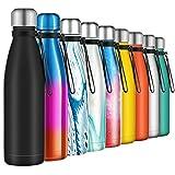Borraccia Termica 500ml, Senza BPA, Bottiglia Acqua in Acciaio Inox Sottovuoto a Doppia Parete, per Campeggio di Sport Esterni Escursionismo Escursioni in Bicicletta, Nero