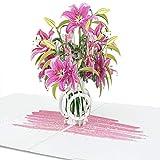 LIMAH® Pop-Up 3D Grußkarte/ PopUp 3D Blumen-Karte zum Geburtstag für Sie, Muttertag, Valentinstag, Hochzeit /Lilien in einer Vase Motiv/in Rosa Weiss