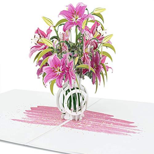 LIMAH Pop-Up 3D Grußkarte/ PopUp 3D Blumen-Karte zum Geburtstag für Sie, Muttertag, Valentinstag, Hochzeit /Lilien in einer Vase Motiv/in Rosa Weiss