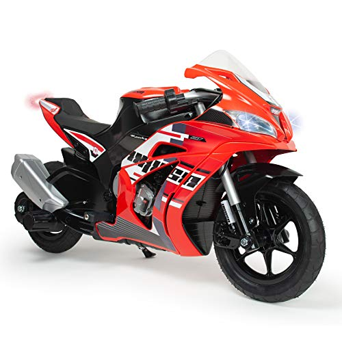 INJUSA – Moto Racing Fighter de 24V con Freno de Tambor, Aceleración Progresiva y Caballete Recomendada a Partir de +6 Años