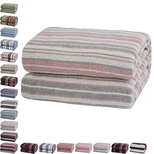 Mixibaby Tagesdecke Wohndecke Wendedecke Kuscheldeck Sofadecke Couchdecke Baumwolle, Farbe:Grau Rosa gestreift, Maße Decke Sarah:180 cm x 220 cm