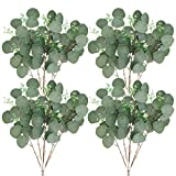 FUNARTY 24pcs Artificial Eucalyptus Leaves Stems Greenery Decor Greenery Stem 18' Tall with Flower Seeds Fake Eucalyptus Plant Branches for Floral Arrangement Vase Bouquets Wedding
