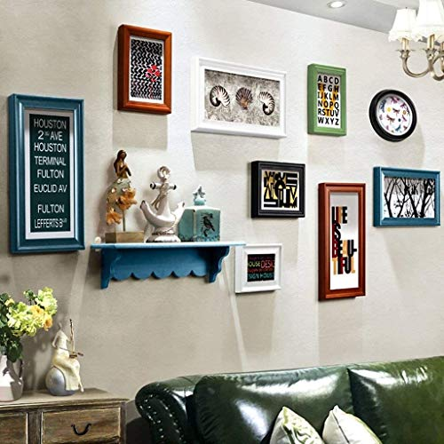 USRVR Multi Picture Photo Frames Wall Set Wood Photo Picture Frame Set-Wall-Mounted Home Mall- Modern Picture Frames Wall + Combined Wood Photo Frames + for Corridor Living Room + Set of 9