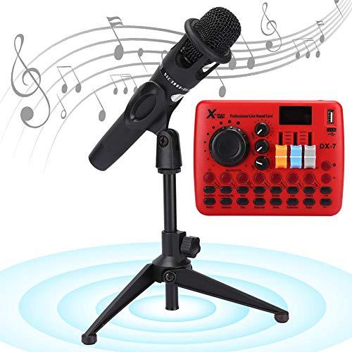 Sound Mixer Card Microfoonset, Podcast PC Living Artefact Mic Audio Changer Accessoires Ingebouwd 14 Speciale effecten voor muziekopname Karaoke Zingen op telefoon Computer Laptop Tablet