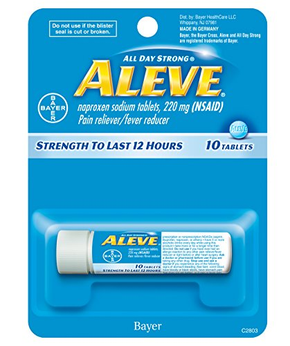 Aleve Tablets with Naproxen Sodium, 220mg (NSAID) Pain Reliever/Fever Reducer, 10 Count
