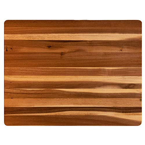 Villa Acacia Extra Large Wood Cutting Board 24 x 18 Inch, 1.5 Inches Thick, Reversible Wooden Kitchen Block