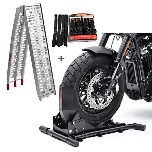 Set Motorradwippe Constands Easy Vario + Auffahrrampe Alu-I + Spanngurte Set SW8