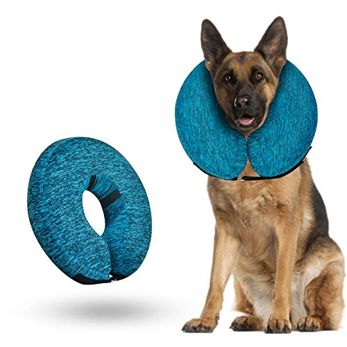WONDAY Dog Cone for After Surgery, Pet Inflatable Collar Comfy Soft Dog Cone, Adjustable Protective Recovery Dog Collar…