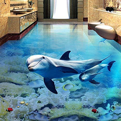 Anti-Slip Waterproof Self-Adhesive Pvc Wallpaper 3D Floor Painting Modern Customization3D Boden Wandbild Benutzerdefinierte Delphin Unterwasser Welt Tapete Kinderzimmer-250 * 175Cm