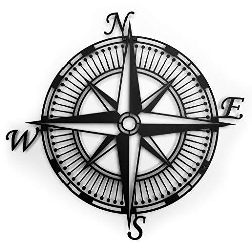 ROAMFORGE Kompass – Metall-Wandkunst für Haus oder Garten, Deko-Idee | Dekorative Tafel für Wohnzimmer, Küche, Schlafzimmer oder draußen (groß: 50 x 50 cm)