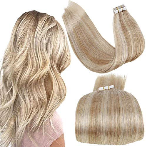 LaaVoo Tape in Extensions Blond Skin Wefts Echthaar Glatt Remy Human Hair Extensions Aschblond Highlighted Gebleichtes Blond Extensions Echthaar Tapes 50GR/20PCS #P18/613 16 Zoll/40cm