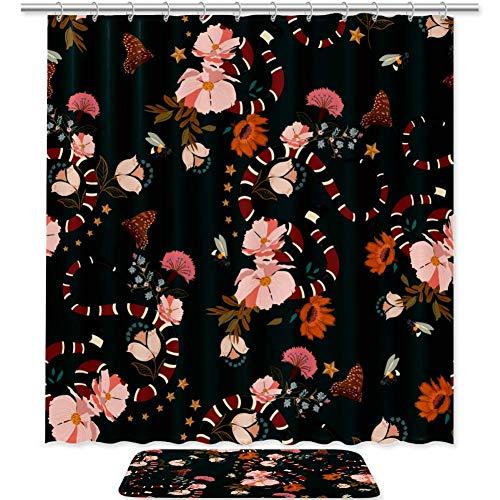 TIZORAX Schlange Mit Blumen Bad Duschvorhang Set mit Rutschfesten Badezimmer Teppiche Bodenmatte Dekoration