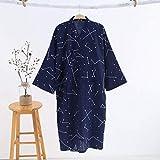 XFLOWR Conjunto de Pijamas Ropa de Dormir para Mujeres Ropa de Dormir Kimono Bata Casual Algodón Albornoz Cinturón Elegante Baño SPA Bata Algodón Gasa Soild Ropa para el hogar M Men Dark bl, UE