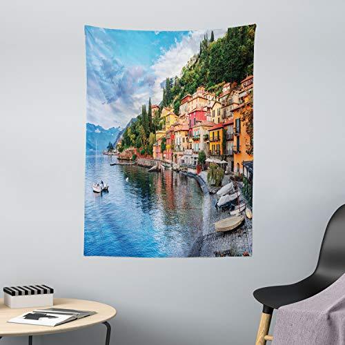 ABAKUHAUS Italien Wandteppich und Tagesdecke, Italienische Häuser Foto, aus Weiches Mikrofaser Stoff Wand Dekoration Für Schlafzimmer, 110 x 150 cm, Mehrfarbig