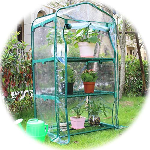 Mini Greenhouse Three-story Warm Shed Keep Warm and Cold Waterproof Dust-proof with Zipper Greenhouse Cover (Color : 1pcs, Size : 69x49x127cm)
