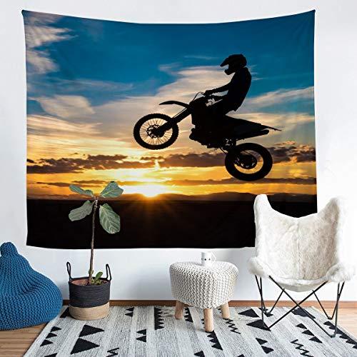 Loussiesd Tapiz de motocross para niñas y niños, moto para colgar en la pared, decoración de deportes extremos, manta de pared elegante puesta del sol, manta de cama extragrande de 152 x 201