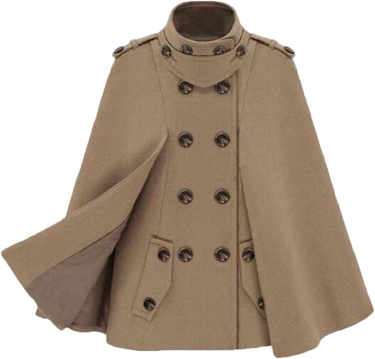 Twcx Women Double Breasted Cloak Stylish Capes Trench Coat Jacket Overcoat