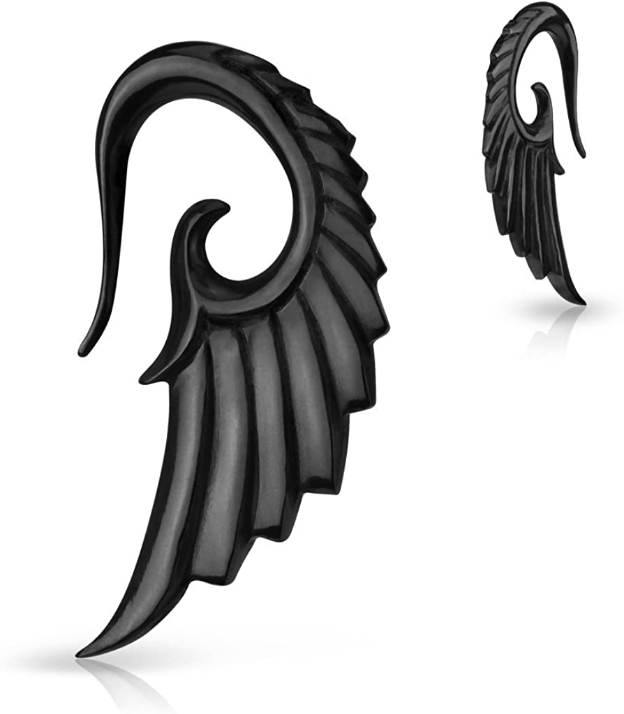 Angelic Wing Hand Carved Organic Horn WildKlass Taper (Sold as a Pair)