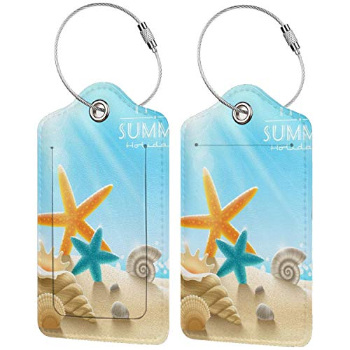 Verano Starfish Shell Beach personalizado cuero maleta de lujo etiqueta Set viaje Accesorios equipaje etiquetas