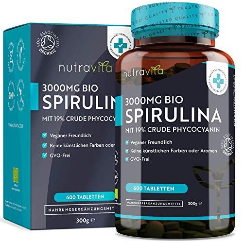 Bio-Spirulina 500mg pro Tablet (3000mg pro Tag) mit 19{6adc4970754a965fc726608989fc56c0f86e95b5c02428769050b15f1483b394} rohem Phycocyanin – 600 Tabletten – für Veganer geeignet; mit Biosiegel der Soil Association – Hergestellt von Nutravita