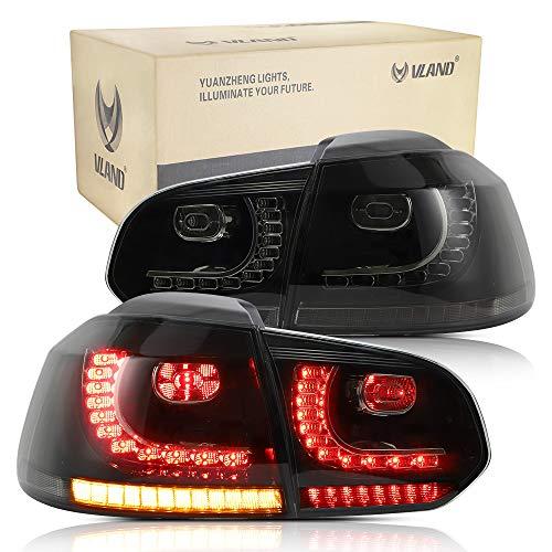 VLAND Rückleuchten für Golf 6 MK6 VI GTI GTD R TSI TDI 2008-2013 Heckleuchten mit sequentiellem Dynamik Blinker,PLUG AND PLAY,Geräuchert