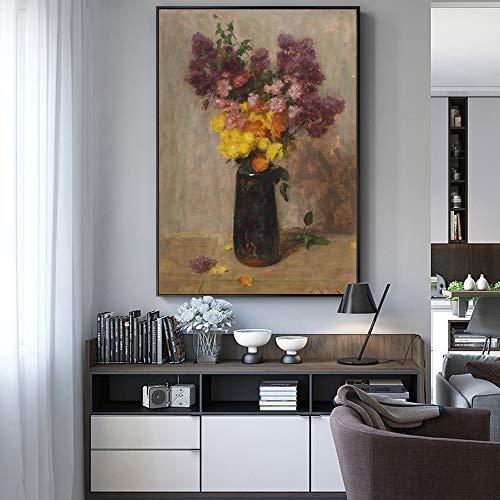 TYLPK Impressionismus Blumendruck Leinwand Malerei Vase Wandplakat und Blumenbild Wohnzimmer Art Deco A5 60x90cm