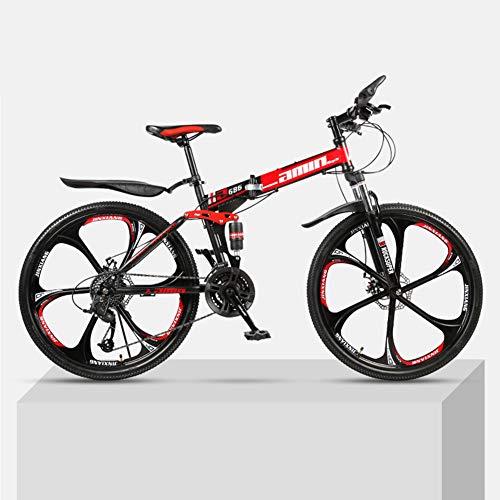 %23 OFF! CCONE Folding Full Suspension MTB Bikes,24 Inch 6 Spoke Mountain Bike 21 24 27 30 Speed Bic...