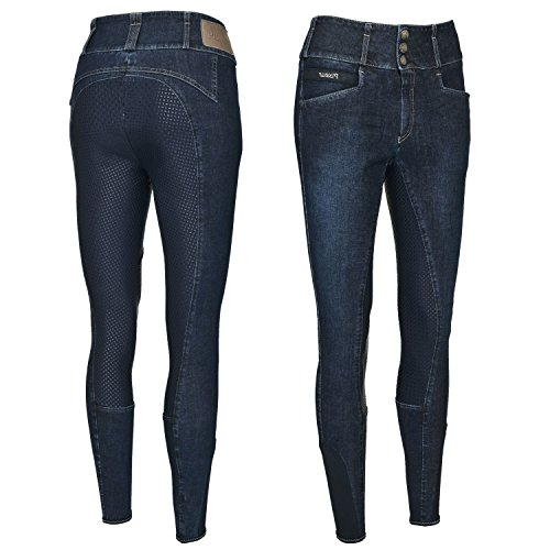 Pikeur Damen Vollbesatz Reithose Candela Jeans Grip, Light Grey, 76