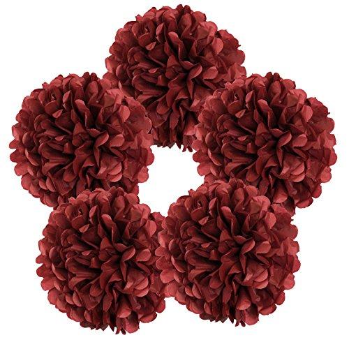 """Just Artifacts 5pcs 10"""" Red Velvet Tissue Paper Pom Pom Flower Ball"""