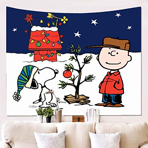 Snoopy Christmas Tapestry Charlie Brown Tapestry Wall Handing Living Room Bedroom Decoration Tapestry, Mattress, Tablecloth 60 L X 50 H Inches