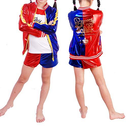 Biback Disfraz de niña Harley Quinn 3 en 1 Juego - Cosplay 3 Piezas Chaqueta +...