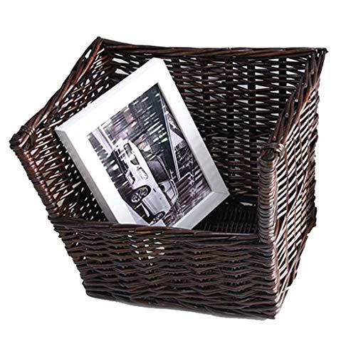 Standregal Bücherregal Kreativer Retro- Rattan-Schreibtisch-kleiner Korb passend für Expedit-Bücherregal, Speicherkorb-Speicherorganisator-Spielzeugorganisator Bücherregale ( Color : Dark brown )