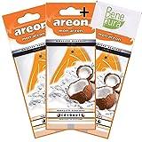 AREON Mon Cocco Deodorante per Auto Appeso Orange Drop–Van, Camion, Camper–casa, Ufficio, Bagno, Palestra–Armadio, cassetti–Set di 3