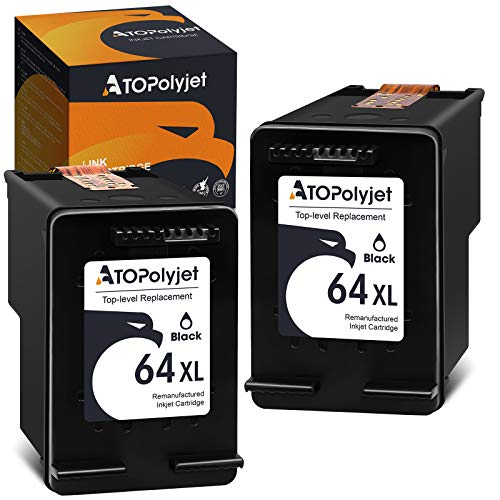 ATOPolyjet Remanufactured Replacement for HP 64XL 64 Black Ink Cartridges (N9J91AN) Used for HP Envy Photo 6252 6255 6258 7858 7155 7158 7164 7800 7855 7120 6220 6232 7132 7820 7830 7130 7864 Printer