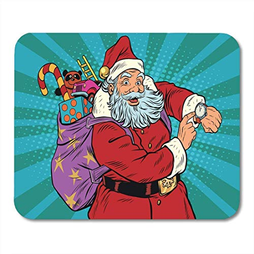 Mauspads Roter Pfeil Weihnachtsmann zeigt Uhr Neujahr Mauspad für Notebooks, Desktop-Computer Matten Büromaterial