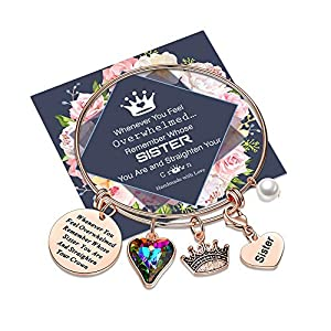 """SIZE: 2.5"""" inner diameter with smooth edge, expandable Rose Gold Bangle Bracelet is lightweight, comfortable to take off and put on, Which is adjustable to fit most women and girls wrists. MATERIAL: Premium 316L Stainless Steel, Rose Gold Plated Sist..."""